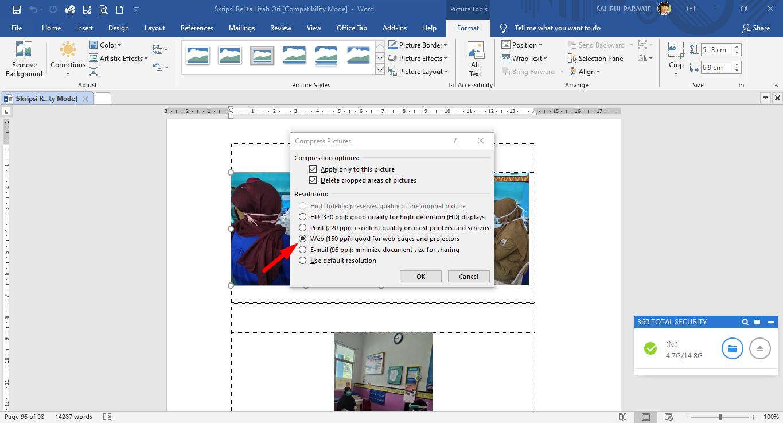 Cara Compress Size File Microsoft Word Bergambar