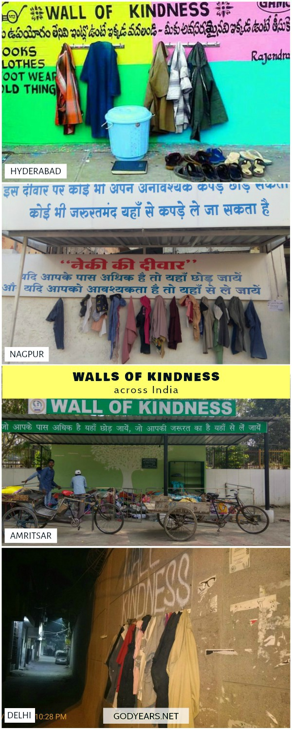 faith in humanity restored - In India, similar concepts of walls of kindness have been started in Hyderabad, Jaipur, Chandigarh, Nagpur, Varanasi, Amritsar, Bhopal and Delhi.