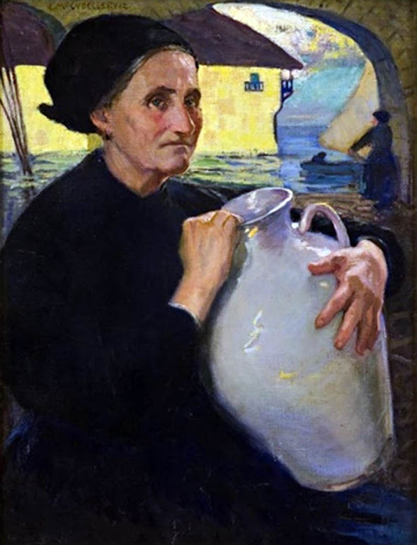 Enrique Martínez Cubells, Señora con Canataro, Pintor español, Pintores españoles, retratos de Enrique Martínez Cubells, Pintores Valencianos