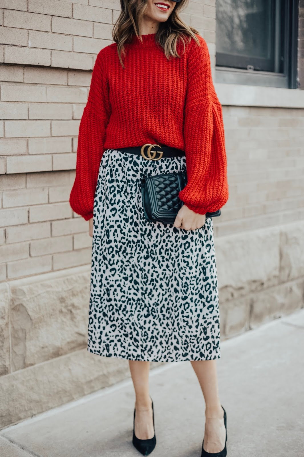 Red Sweater Leopard Skirt and Gucci Belt