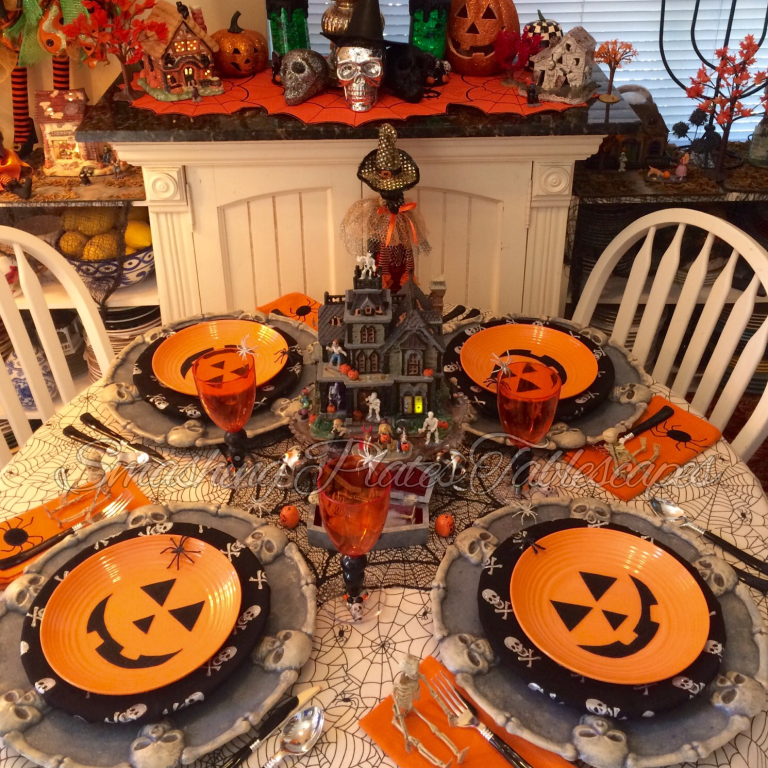 halloween chair covers dollar tree baby sitting with wheels smashing plates tablescapes spooktacular tablescape