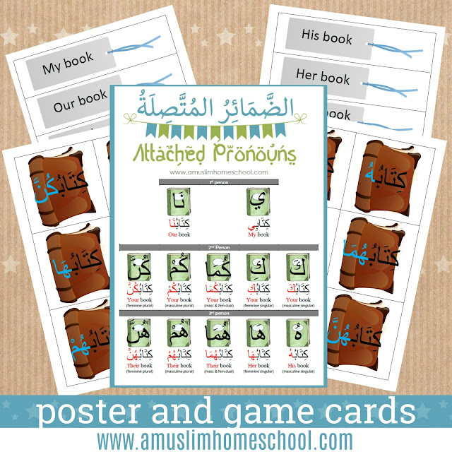 Arabic attached pronouns poster chart and game cards for kids