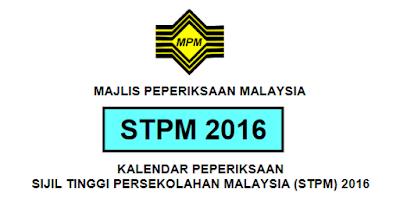 jadual Peperiksaan STPM 2016