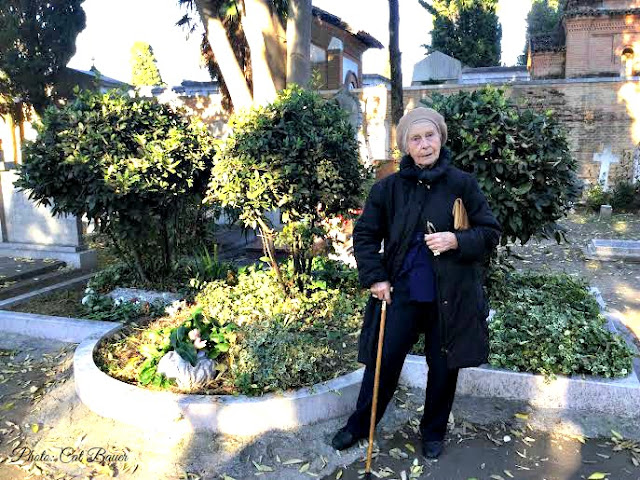 Mary de Rachewiltz at the tomb of parents Ezra Pound & Olga Rudge, Venice, Italy - Photo: Cat Bauer