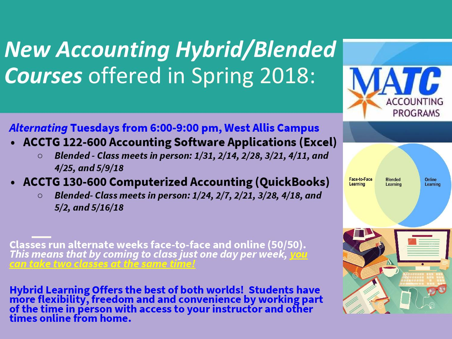 Matc accounting programs we are again offering hybrid courses in spring 2018 xflitez Choice Image
