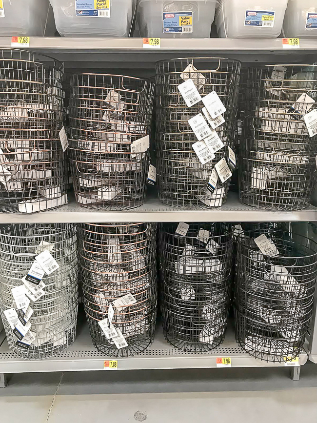 Wire baskets and storage from Walmart