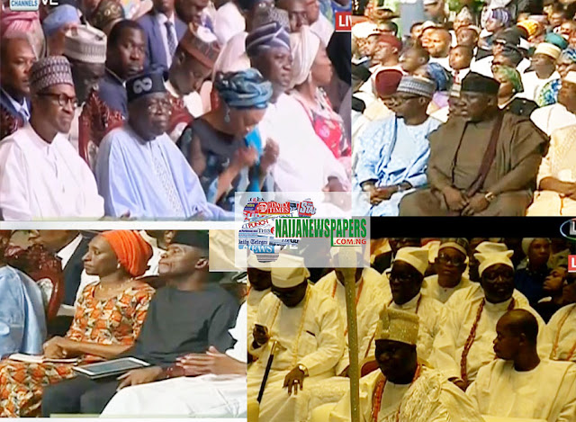 Image result for Buhari, Alaafin Of Oyo, Ooni Of Ife, Governors, At Tinubu's Colloquium