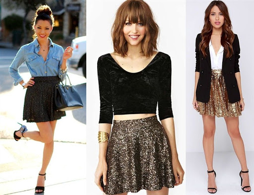 black sequin skater skirt