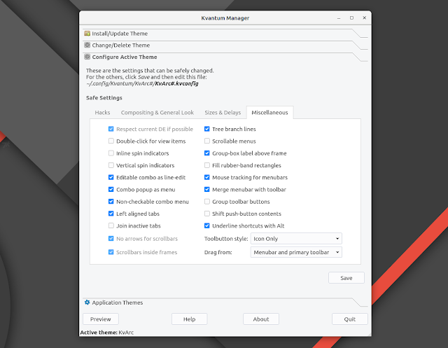 kvantum active theme configuration settings