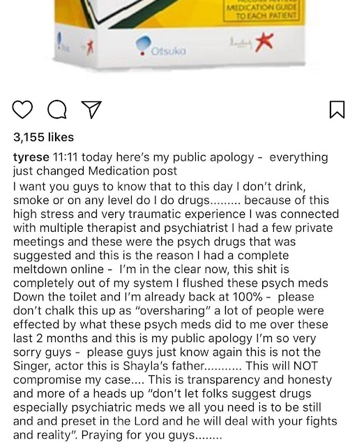 Tyrese announces that Psych medication he was taking caused his meltdown and he
