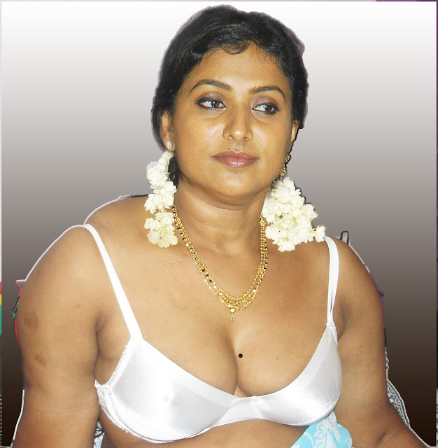 Hot Aunty actress Roja sexy white bra nude cleavage without blouse and saree