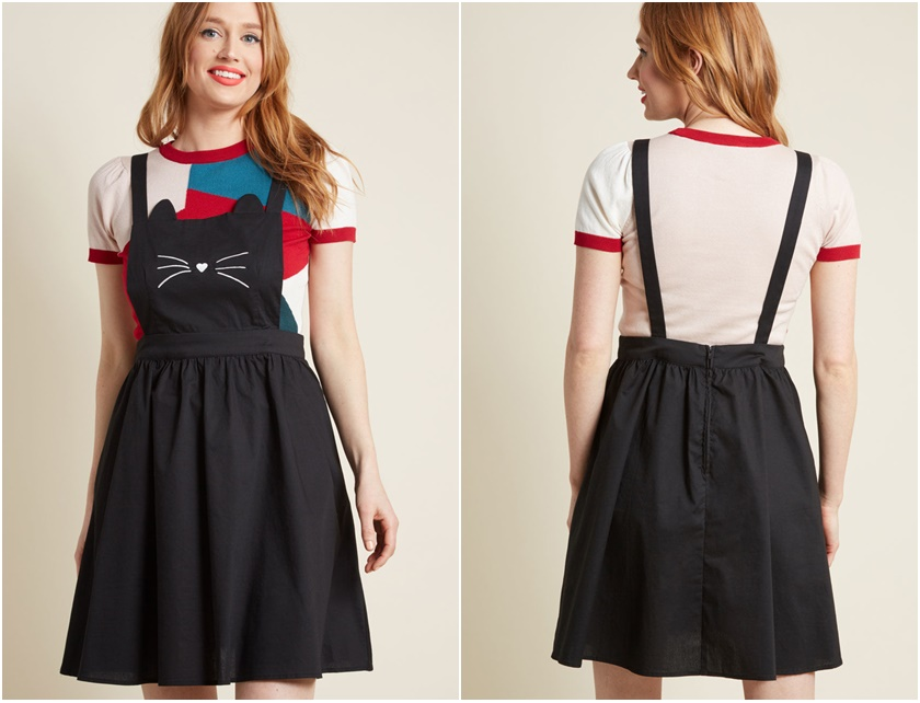 c70bfbf5f5 Modcloth Any Day Meow Pinafore Dress