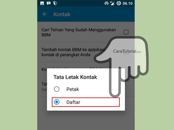 Gambar Pilihan Tata letak kontak BBM ke Daftar atau Petak