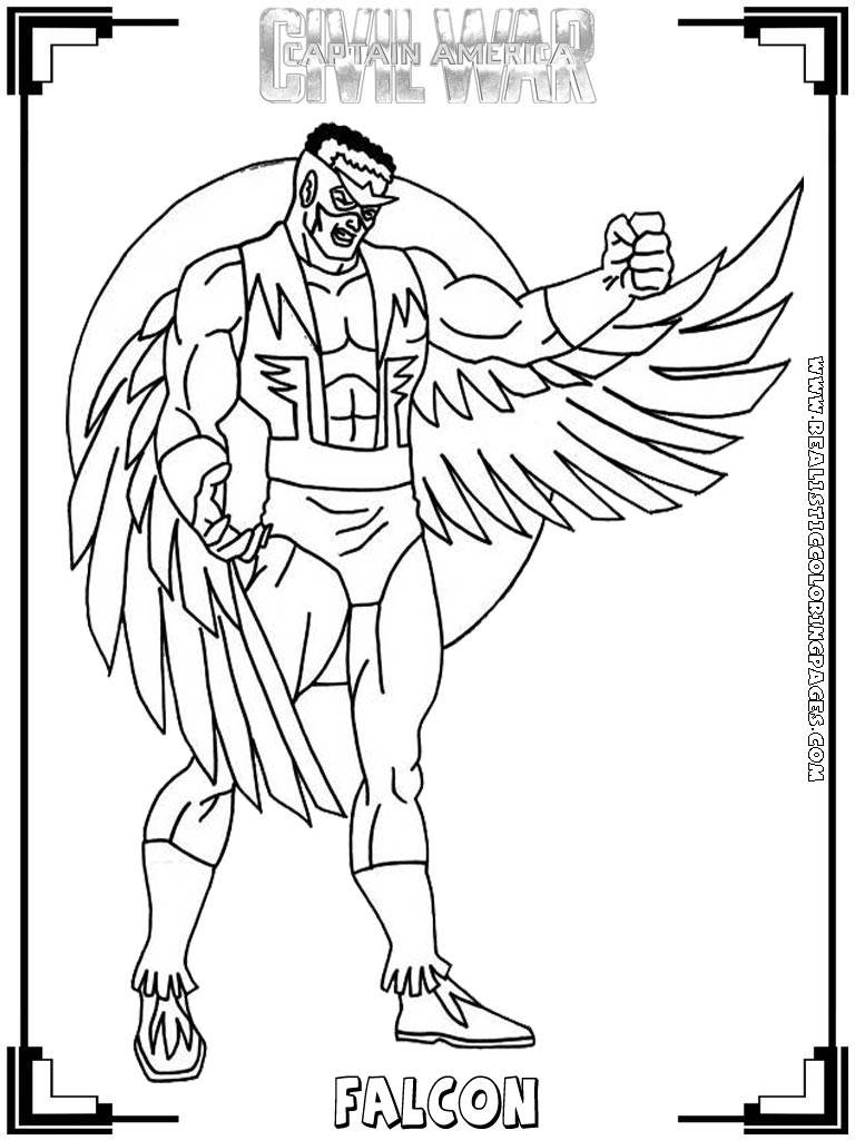 falcon avengers coloring pages - photo#14
