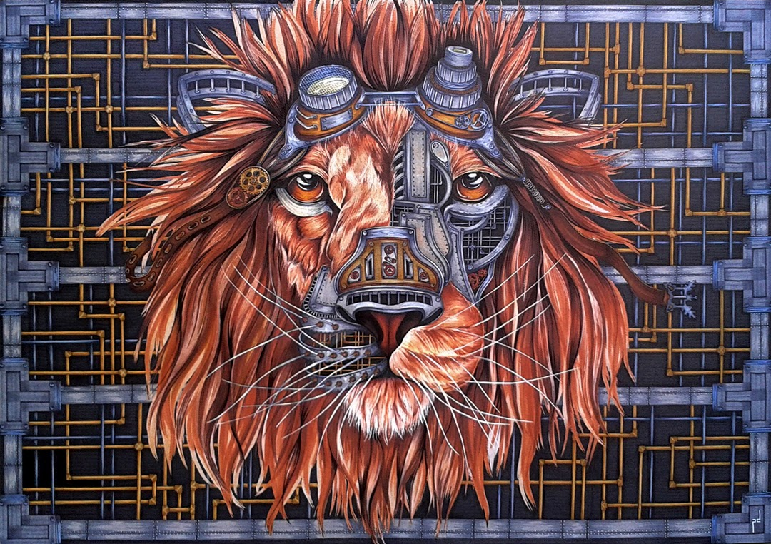 08-Steampunk-Lion-Paula-Duță-Drawing-Animals-Steampunk-Clothing-www-designstack-co