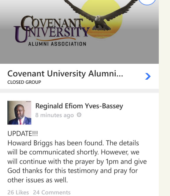 Missing Covenant University graduate Howard Briggs found
