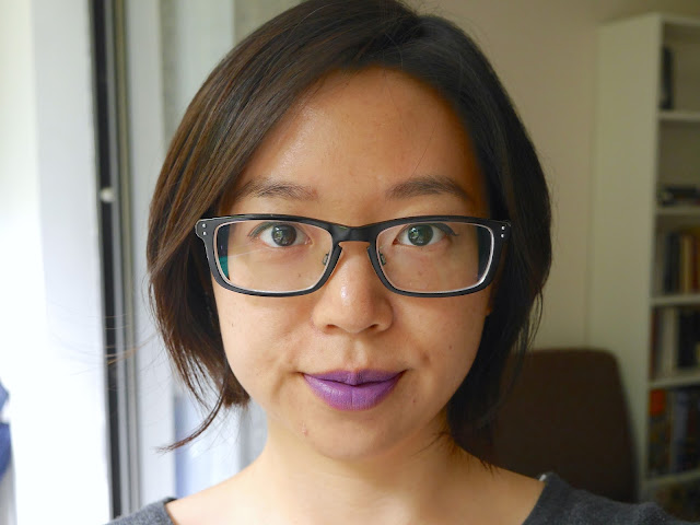 estee lauder pure envy matte lipstick shameless violet swatch review