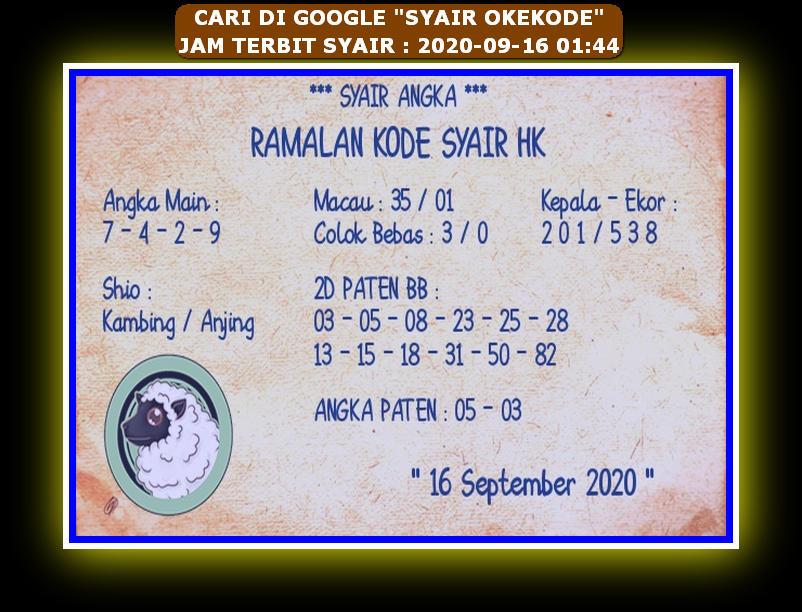 Kode syair Hongkong Rabu 16 September 2020 213