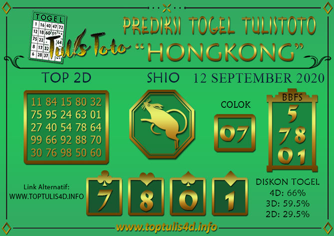 Prediksi Togel HONGKONG TULISTOTO 12 SEPTEMBER 2020
