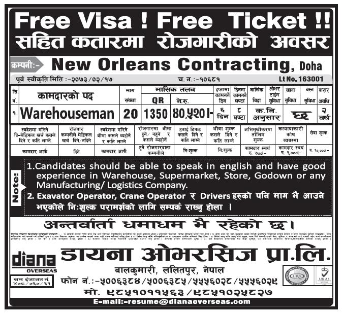 Free Visa Free Ticket Jobs in Doha Qatar for Nepali, Salary Rs 40,520