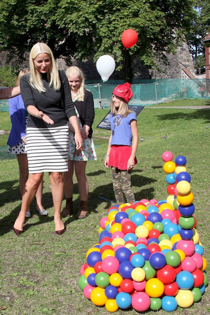 Crown Princess Mette- Marit  attended the opening of the Sculpture Park at Akershus fortress in Oslo.
