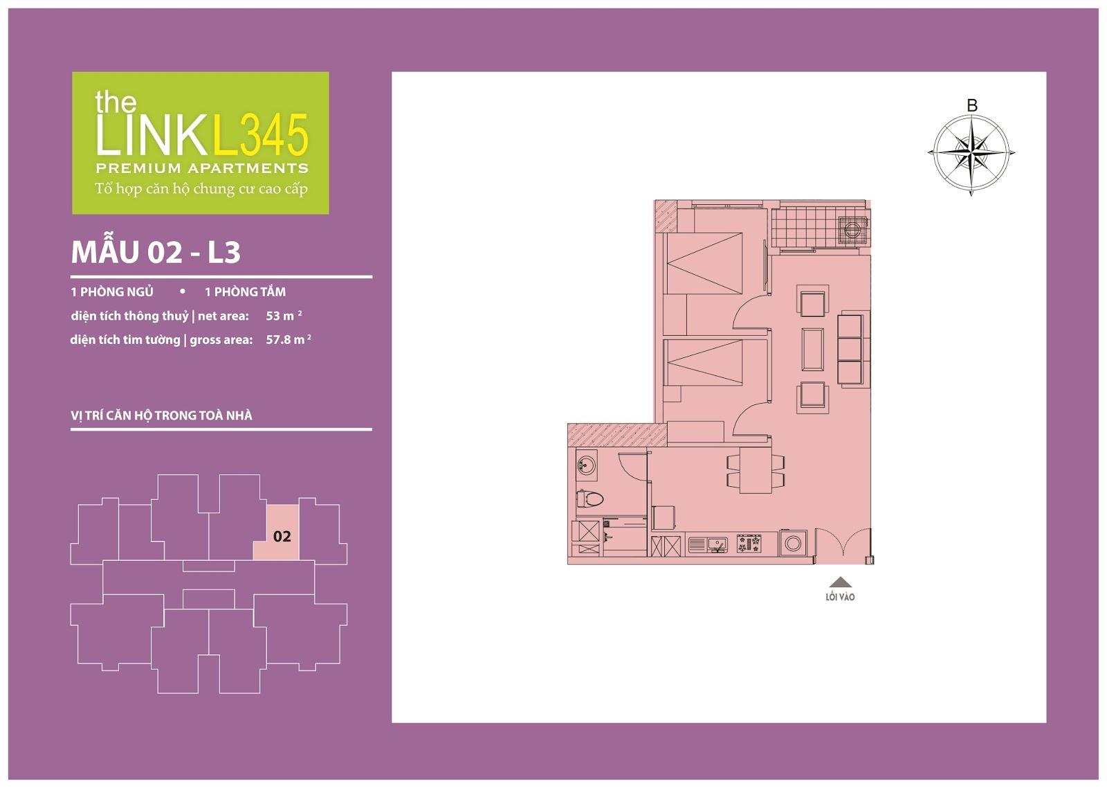 Mặt bằng chi tiết căn hộ 02 - L3 The Link