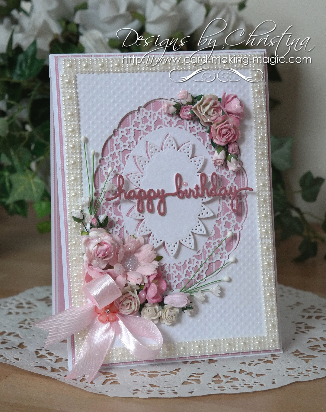 Flowers Ribbons And Pearls Pink Pearl Birthday Card
