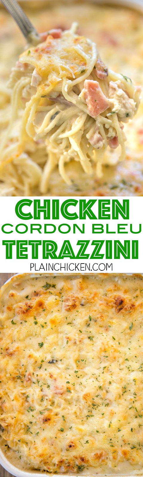 Chicken Cordon Bleu Tetrazzini - we are obsessed with this yummy casserole!! Chicken, ham, swiss cheese, mushroom soup, Alfredo sauce, chicken broth, pasta and parmesan. So quick and easy to make. Can make ahead of time and freeze for later. We make this at least once a month. It always receives rave reviews!!! We love this easy casserole recipe.