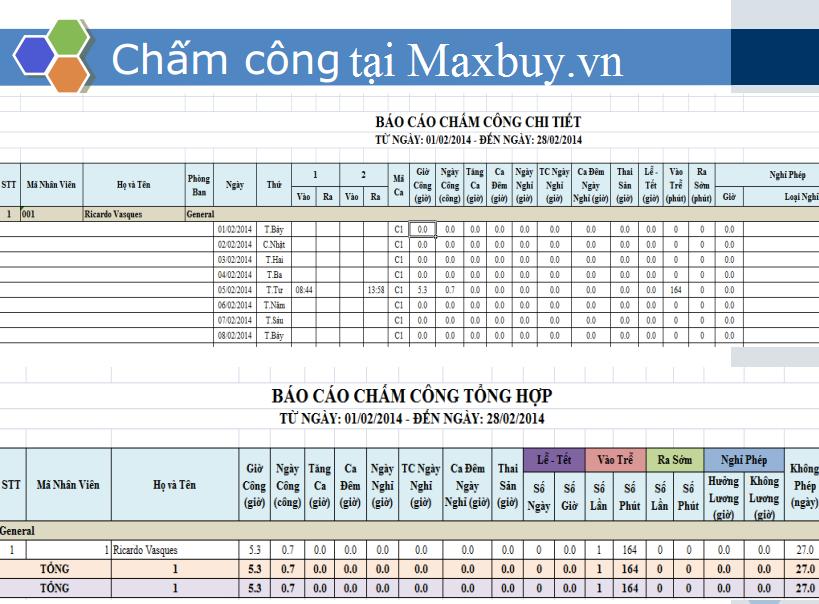 Bảng chấm công dạng excel của công ty Maxbuy