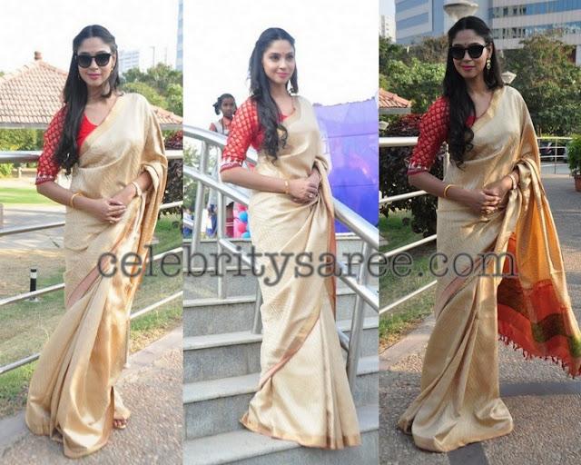 Angana Roy Off White Saree