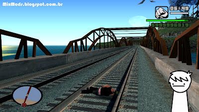 salvar o jogo dormindo (cj dormindo na linha do trem)