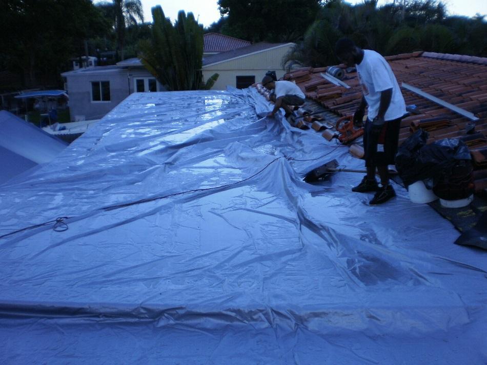 Tarped Flat Roof   Didnu0027t Spill A Drop .