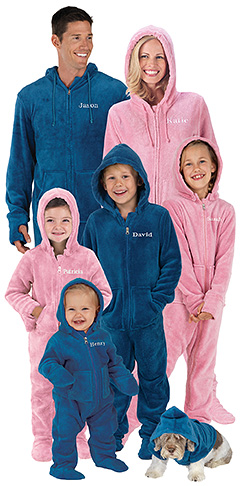 974e7d7202 I love this Hoodie-Footie from PajamaGram. You can get one for the whole  family... even the dog! I like how you can personalize your pajamas with  your name.