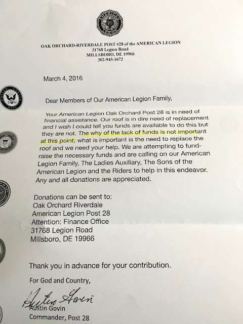 Retired in delaware who can you trust anymore for American legion donation letter