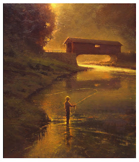 Blond-headed boy fly fishing below covered bridge