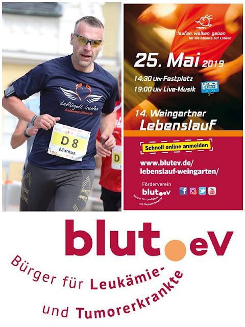 Werbeplakat und Spendenaufruf für den Lebenslauf in Weingarten am 25.05.2019