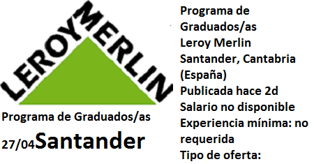 Lanzadera de Empleo Virtual Santander, Oferta Leroy Merlin