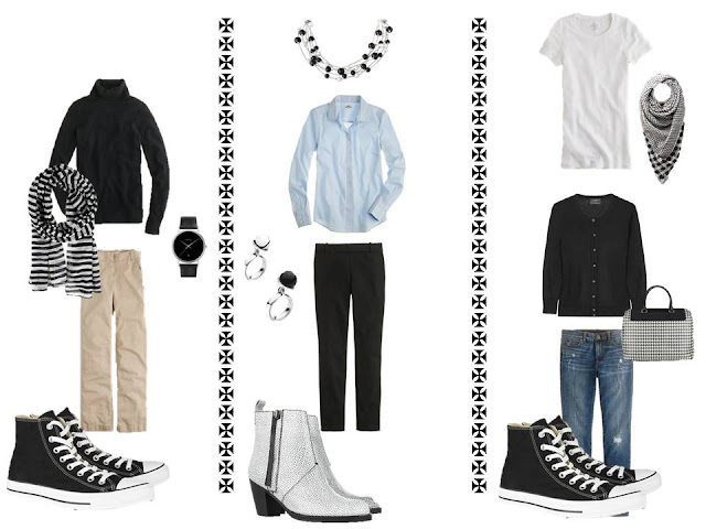 Three outfits from the original version of A Common Wardrobe, with black and white accessories.