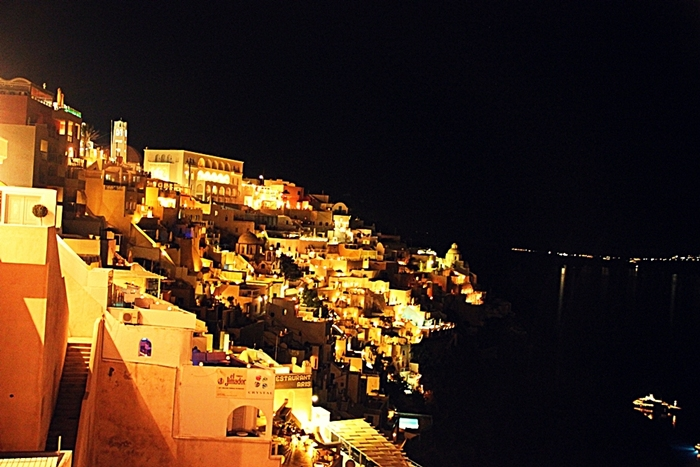 Thira in Santorini in the night