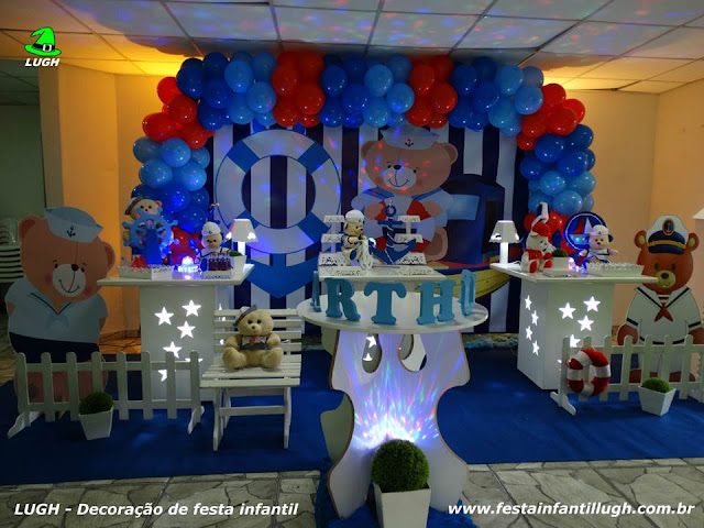 Decoração de mesa de aniversário Ursinho Marinheiros - Festa infantil - Provençal simples