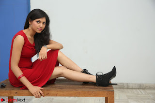 Mounika Telugu Actress in Red Sleeveless Dress Black Boots Spicy Pics 001.JPG