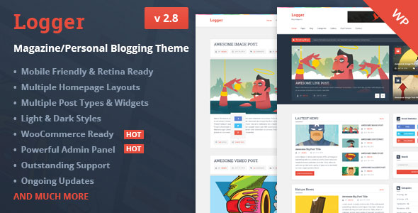 Free Download Logger V2.8 Magazine/Personal Blogging Wordpress Theme
