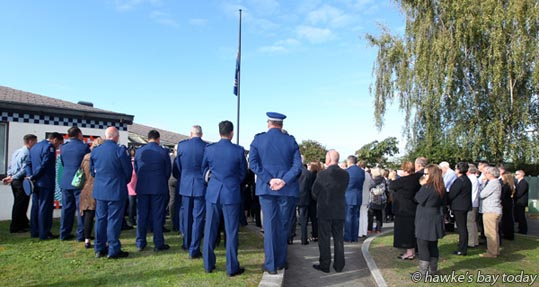 Police, family, friends and former colleagues at a 20th anniversary memorial service for Constable Glenn McKibbin, at Flaxmere Police Station, Flaxmere, Hastings. Constable McKibbin was shot dead in Flaxmere on 21 April, 1996. photograph