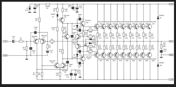 skema Apex BA1200 Amplifier 1000 Watt dengan Rangkaian