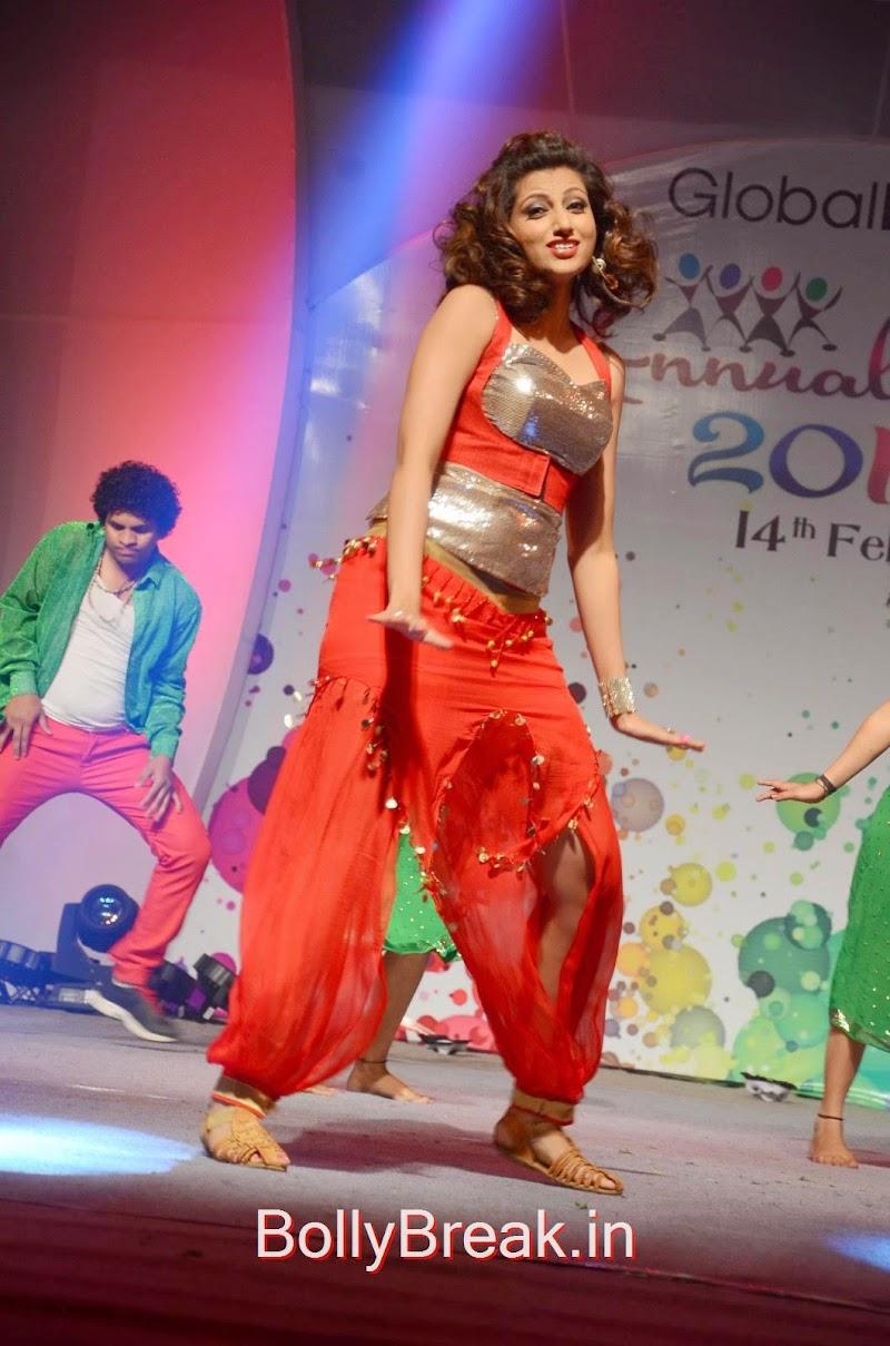 Hamsa Nandini Dancing Stills in Red and Silver Dress At Global Logic Annual Bash