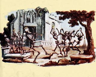 Dibujo de la danza macabra en la que la muerte, en forma de esqueleto, baila junto a otros esqueletos alrededor de una tumba