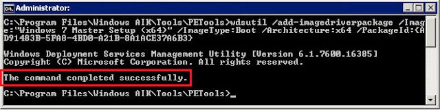 Terminados los cambios en el registro del sistema WDSUTIL debería permitirnos agregar los nuevos controladores al boot.wim.