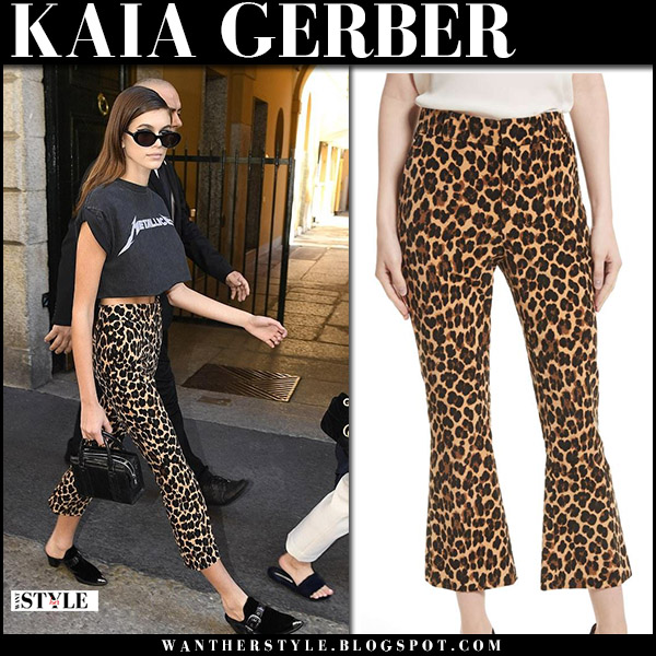 Kaia Gerber in cheetah leopard print pants frame milan fashion week september 21 2017 street style