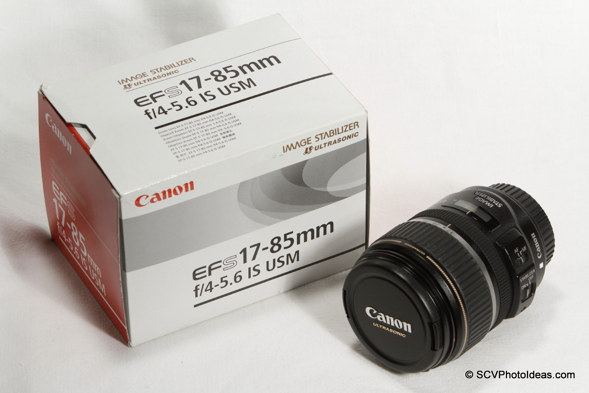 Canon EF-S 17-85mm F/4.0-5.6 IS USM aside box