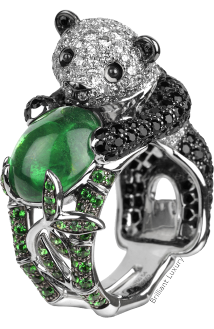 Brilliant Luxury♦Boucheron Paris Biladom Panda emerald ring
